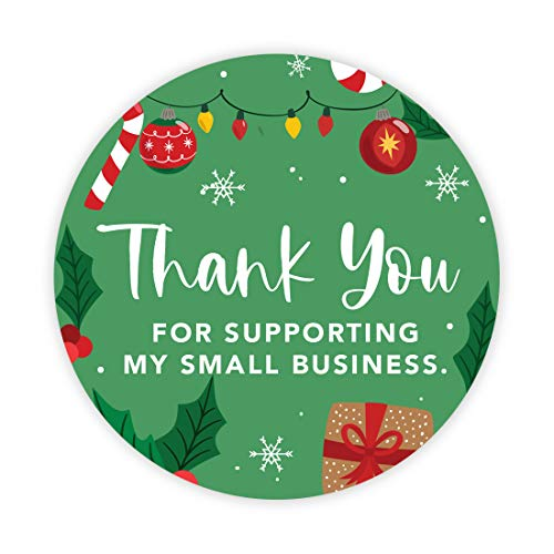 Andaz Press Christmas Round Small Business Sticker Labels, 2 Inch Round, Thank You for Supporting My Small Business, Christmas Ornament and Lights Design, Packaging Stickers, 120-Pack