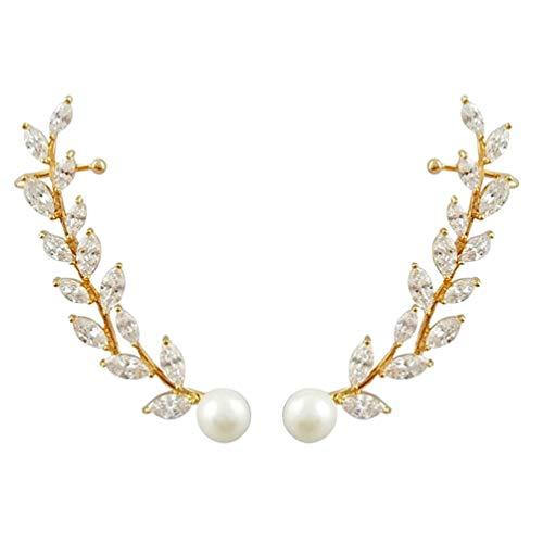 Holibanna Pendientes con diseño de hoja escalador, con pedrería, perlas, pendientes de pulsera, pendientes para joyas de novia (oro rosa) oro rosa