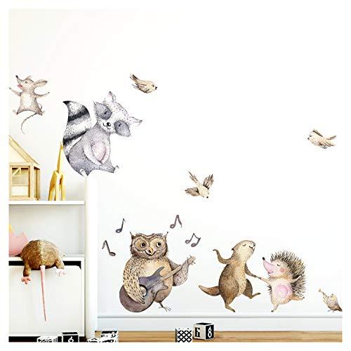 Little Deco Wandtattoo Waldtiere Musik & Tanz I L - 180 x 137 cm (BxH) I Kinderzimmer Babyzimmer Aufkleber Sticker Wandaufkleber Wandsticker Klebeposter DL150