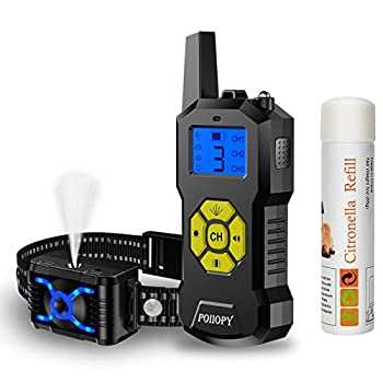 Citronella Dog Training Collar with Remote 【Can t Work Automatically】,4 Modes Vibration/ Beep/ Spray Dog Collar with LED Light,2600 ft Range Rechargeable No Shock Harmless Citronella Collar for Dog