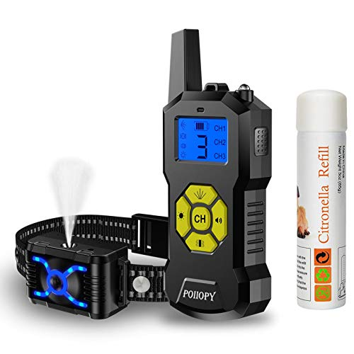 WWVVPET Citronella Spray Dog Training Collar with Remote Control-Vibration Beep Spray Dog Bark Collar with LED Light-2600 ft Range Rechargeable Adjustable No Electric Shock Harmless Anti-Bark Collar