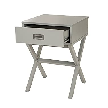 Glitzhome X-Design Side Table Furniture Night Stand Storage Shelf with Bin Drawer (Grey) Gift for Mother's Day