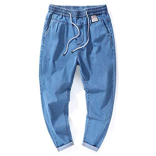 Beastle Pantalones Vaqueros para Hombre Tendencia de Primavera Pantalones Harem Sueltos Pantalones de Mezclilla de Cintura elástica con cordón de Todo fósforo Informal 38