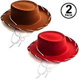 Funny Party Hats Kids Cowboy Hat - Brown & Red Cowboy Hats – Children's Cowboy Costume - Western Hats – 2 Pack