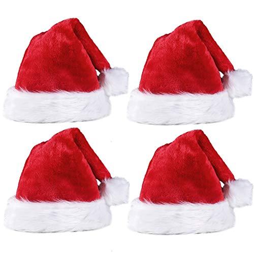 U&X 4 Paquetes de Gorro de Papá Noel, Sombreros de Navidad clásicos Unisex de Felpa roja para Adultos y Adolescentes Decoración navideña