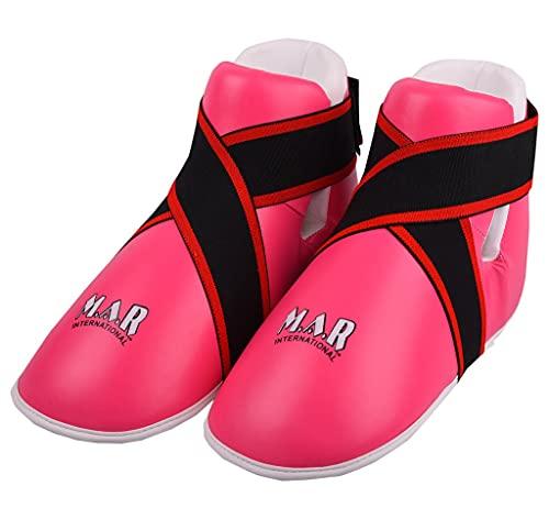 M.A.R International Ltd. Halbkontakt-Fußschutz für Kampfsport, Karate, Taekwondo, Boxen, Kickboxen, Thaiboxen, MMA, Muay Thai, Pink, Größe S