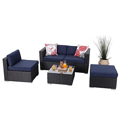 PHI VILLA Outdoor Sectional Furniture 5 Piece Patio Sofa Set Low-Back Rattan Wicker Conversation Set, Navy Blue
