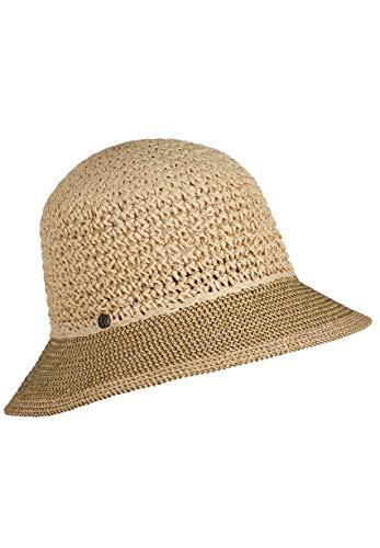 LOEVENICH Damen zweifarbige Häkelglocke, sommerlicher Hut, Farbe: Natural