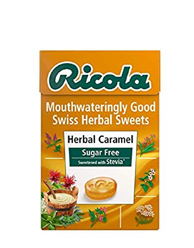 Ricola Caramel Sugar Free Swiss Herbal Sweets, Herb Drops – Pack of 20 Boxes