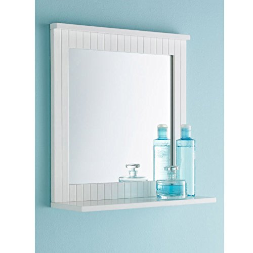 spot on dealz G-0021 White Bathroom Wood Frame Mirror Wall Mounted with Cosmetics Shelf NEW