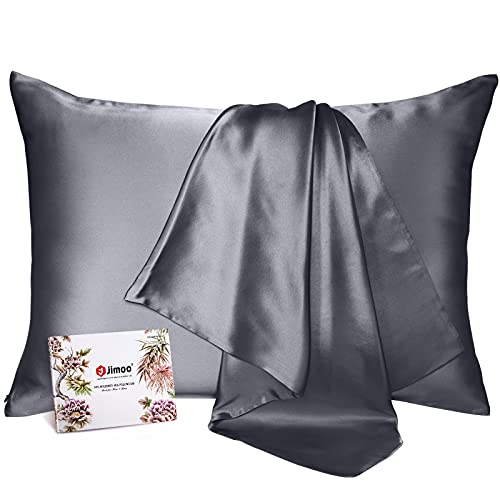 100% Mulberry Silk Pillowcase for Hair and Skin, Both Sides 19 Momme Pure Natural Silk Pillowcases Soft Breathable Standard 20''×26'', Dark Grey 1 Pack