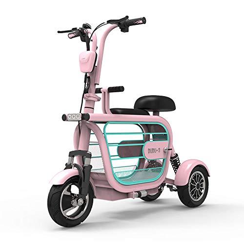 Xiaotian Elektro 3-Rad-Mobilitäts-Roller, Leicht Zusammenklappbare Und Kompakt Für Für Erwachsene Mit Haustieren Tragbare Elektrischen Dreiräder Mit Kindersitz Reisen,Rosa,48V8AH/35km