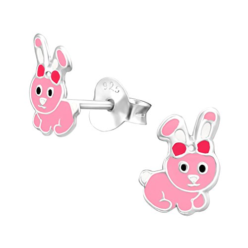 Tata Gisele orecchini da bambino in argento 925/000rodiato e Epoxy–Coniglio–6x 8mm