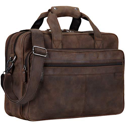 STILORD \'Atlantis\' Leder Aktentasche groß Vintage Lehrertasche Arbeitstasche große Ledertasche Businesstasche zum Umhängen Trolley aufsteckbar, Farbe:Missouri - braun