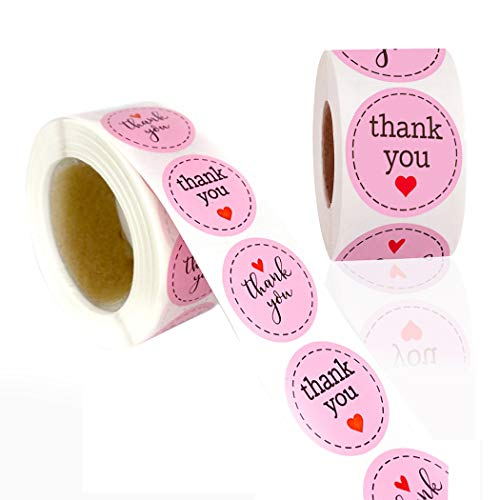 1000pcs 2 Different Design Thank You Stickers 1'' (Small) Round and Heart Adhesive Labels,500 Per Roll,Decorative Sealing Stickers for Christmas Gifts, Wedding, Party (Pink-Round 2, 1'')