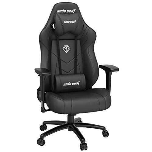 Ergonomic Gaming Chair,ANDASEAT Dark Demon Swivel PVC Leather Computer Office Chair,4D Adjustable PU Armrest Video Game Chairs,160°Gaming Recliner Rocker with Headrest Lumbar Pillow for Home-Black