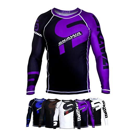 SKAWA Ranked Rash Guard BJJ MMA Compression Shirt Grappling Rash Guard (Purple, Large)