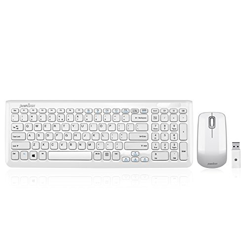 Perixx PERIDUO-710 Wireless Compact Keyboard and Mouse Combo Set, Membrane Chiclet Keys with Numeric Keypad, Piano White