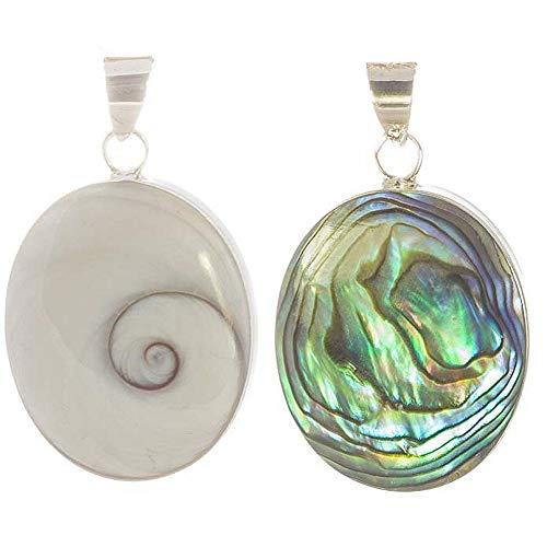 Muschel Schmuck (Anhänger) Muschel Kreiselschnecke Operculum Shiva Eye Abalone Anhänger 925er Sterling-Silber Modellnummer 1175