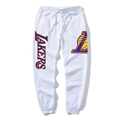 Lakers 24 Guard Basketball Hosen Sport Füße Hosen atmungsaktive dünne Taille Männer Sporthosen, Taschensport Hosen Männer Basketballhose White-M