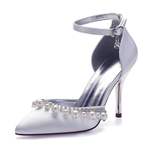 Zapatos de boda con perlas de satén de tacón para mujer, zapatos...
