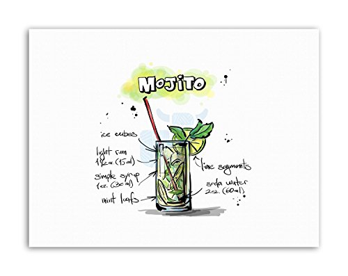 Wee Blue Coo LTD Alcohol Cocktail Recipe Mojito Poster Painting Illustration Canvas Art Prints