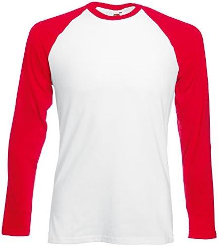 Fruit of the Loom Camiseta Béisbol Manga Larga Hombre Blanca y Roja