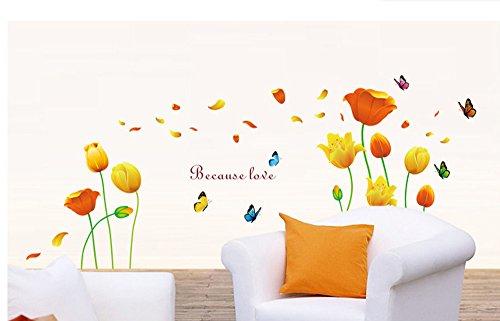 ufengke Bellissimi Tulipani e Farfalle Adesivi Murali, Camera da Letto Soggiorno Adesivi da Parete Removibili/Stickers Murali/Decorazione Murale