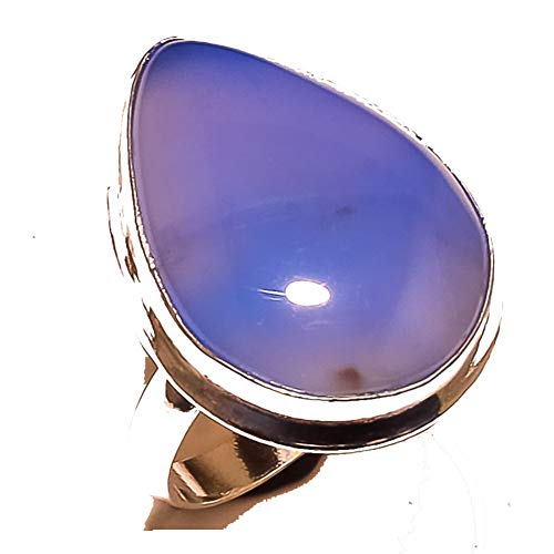 Shivi Spouse's! Ring Size 10 US (Sizeable)! Blue Botswana Agate! Sterling Silver Plated Handmade! Jewelry from