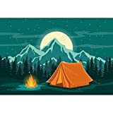 CSFOTO 7x5ft Cartoon Camp Backdrop Camping Theme Party Wild Hiking Field Survival Training Tent Campfire Mountain Forest Starry Sky Background for Photography Kids Portrait Vinyl Wallpaper