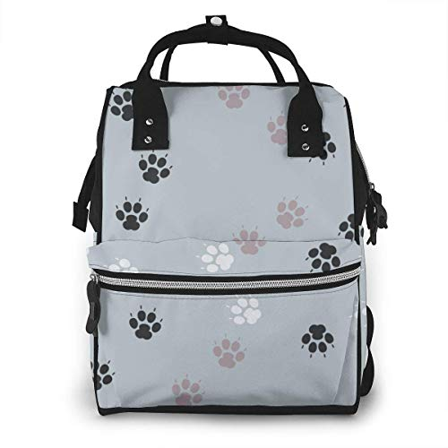 JUKIL Sac à dos à couches Paw Print Traces Cat Textile Abstract Stylish and Durable Nappy Bag for Baby Care School Backpack