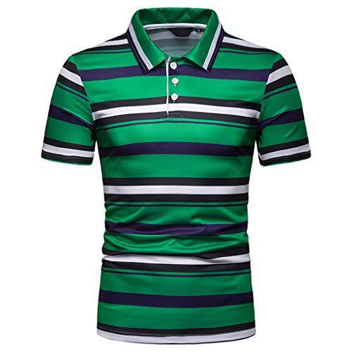 Azruma Herren Poloshirt Streifen Basic Kurzarm Polohemd Drucken Slim Revers Shirt Polo-Shirts urzärmliges T-Shirt Geschäft Freizeit