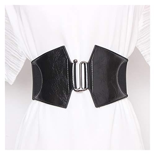 LPZW Cinturón de corsé Cintura de Mujer Plus Tamaño Cinturones para Mujer Amplio Cummerbunds Diseñador Elástico Big Cinturón (Color : Black Belt, Size : 64x7.5 cm)