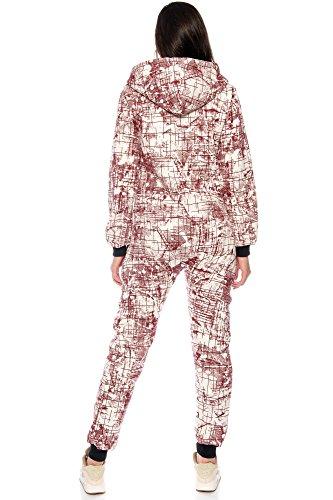 Crazy Age Damen Jumpsuit Overall Hausanzug Freizeitanzug Jogginganzug Einteiler Sportanzug (Rot) - 4