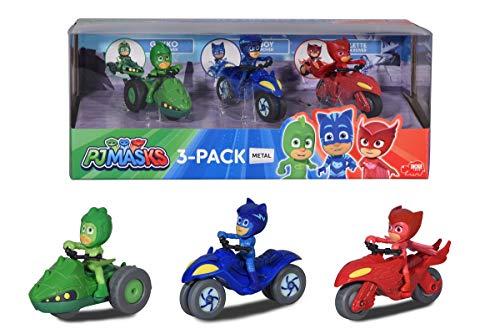 Dickie Toys 3143003 PJ Masks 3-Pack Moon Rover, PJ Masks Set mit 3 Mondfahrzeugen, PJ Masks Spielzeug, 3 PJ Masks Figuren, Catboy, Gecko, Eulette auf Moon Rover, Geschenkbox, für Kinder ab 3 Jahren, 7
