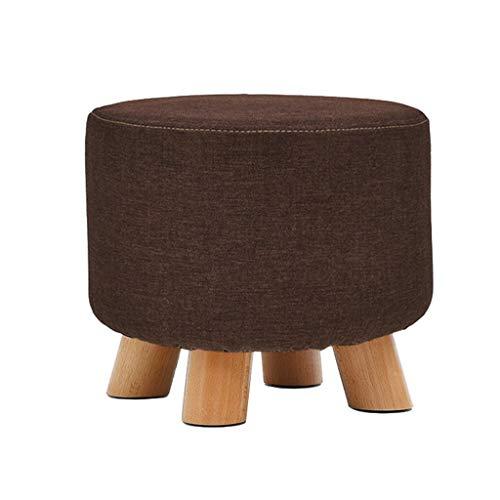 Poufs et repose-pieds Brown Creative Mode Durable Chaise ronde Repose-pieds Changement de chaussure Petit Banc Ménage En Bois Massif Maquillage Tabouret Ottoman Pouf Repose-pieds pour Enfants et Adult