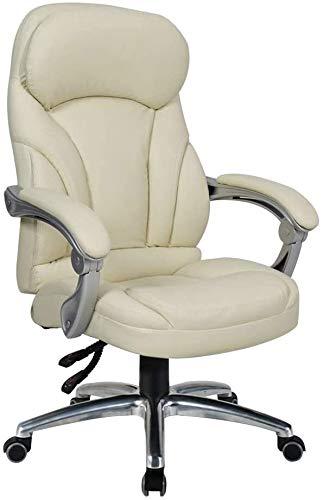 G.S.N. GSN Computer Stuhl High Back Boss Stuhl höhenverstellbar Leder Bürostuhl Vorstand und ergonomischer Drehstuhl Doppel Kissen for Studienbüro Sessel (Color : Off-White)