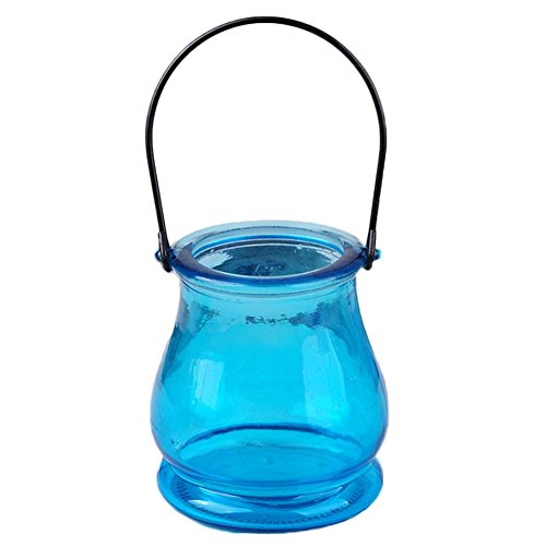MoGist Portavelas binaural, botella de cristal, candelabro colgante, decoración, regalo, decoración del hogar (azul)