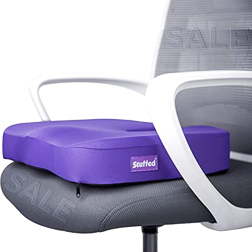 Purple Gel Seat Cushion, Seat Cushion for Office Chair, Chair Cushion for Desk Chair, Pressure Relief Gel Chair Cushion for Women Office Chairs, Coccyx Gel Cushion for Back, Office Gifts