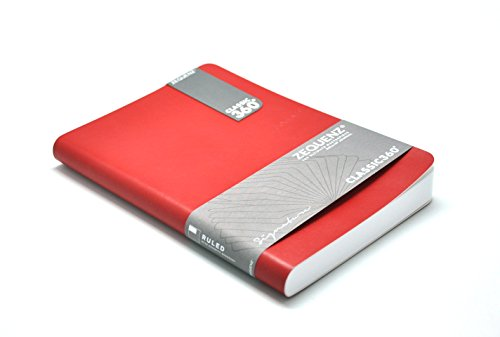 """Zequenz Classic 360 Soft Cover Notebook, Soft Bound Journal, Large, Red, 5.75"""" x 8.25"""", 140 Sheets / 280 Pages, Blank, Plain Thick Premium Paper"""