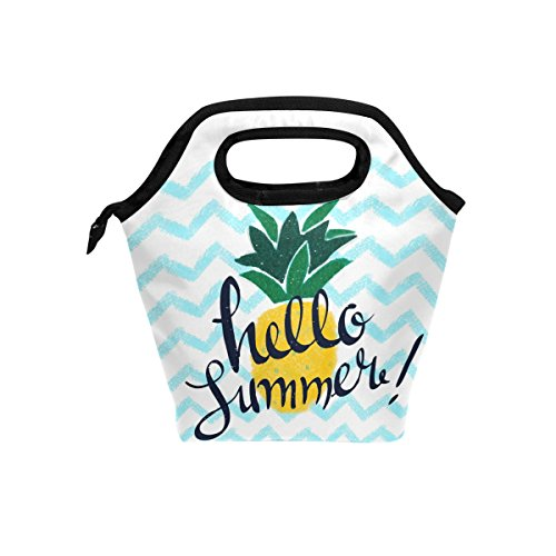 Hello Summer avec des Ananas d'Ondulation repas isotherme Sac fourre-tout pour femme Lunch Box Cooler avec fermeture à glissière pour adultes/enfants filles, garçons, hommes