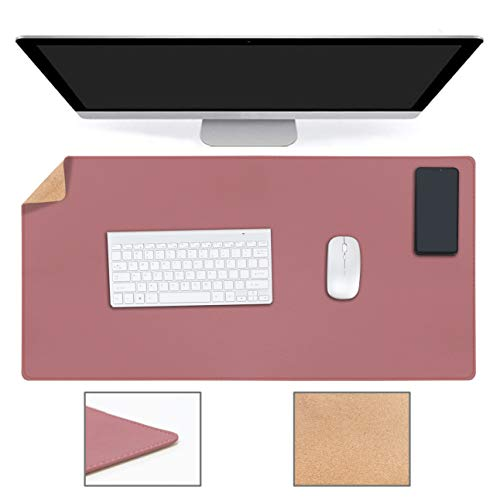 YSAGi Schreibtischunterlage, Tischunterlage, 80 * 40 cm PU-Leder Laptop Tischunterlage, Ultradünnes Schreibunterlage, ideal für Büro und Zuhause(Kork + Dunkelrosa, 80 * 40 cm)
