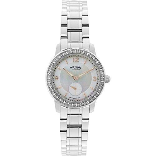 Rotary Reloj de Cuarzo para Mujer con Esfera nácar analógica y Pulsera de Acero Inoxidable Plateado LB02700/41