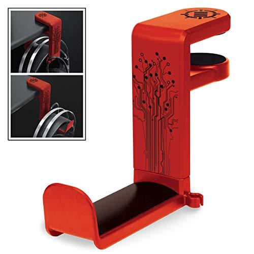 ENHANCE PC Gaming Headset Haken Halter Hanger Mount Kopfhörer Stand mit verstellbaren & Schwenkarm, unter Schreibtisch Clamp auf Design, Universal Fit & Erbaut in Kabel Clip Organizer - Rot