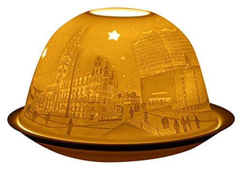 Himmlische Düfte Geschenkartikel GmbH Hamburg City mit Oper Windlicht, Porzellan, Weiss, 12x12x8 cm