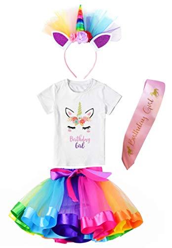 Girls Layered Tutu Skirt with Unicorn Tshirt & Headband (Rainbow, 5-6 Years)