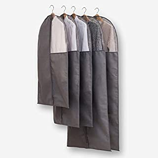 Wuyue Hua Clothes Covers, Suit Cover Protector Bags Set of 5 Waterproof Covers Garment Dustproof Storage for Suits, Shirts, Gowns and Dresses