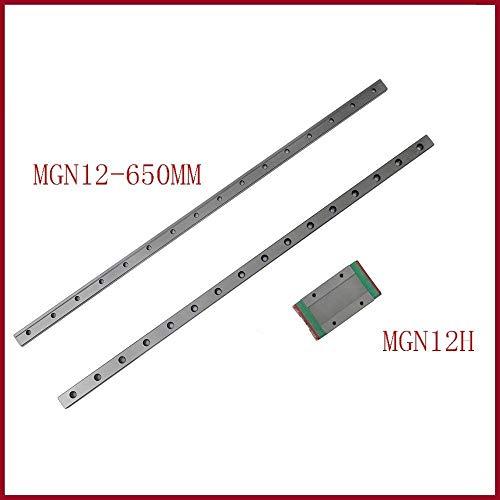 sin 1set de piezas de impresora 3d 12 mm guía lineal MGN12 650 mm vía carril lineal MGN12H o MGNH12C largo de transporte lineal para eje CNC X Y Z, MGN12H 650mm