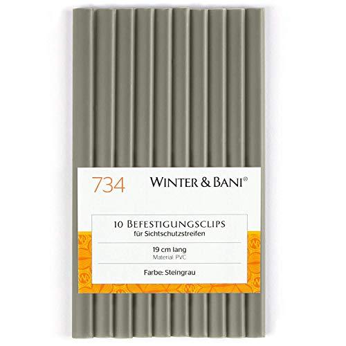 Winter & Bani Clips für Sichtschutzstreifen, Diverse Farben (10 Clips, Steingrau)
