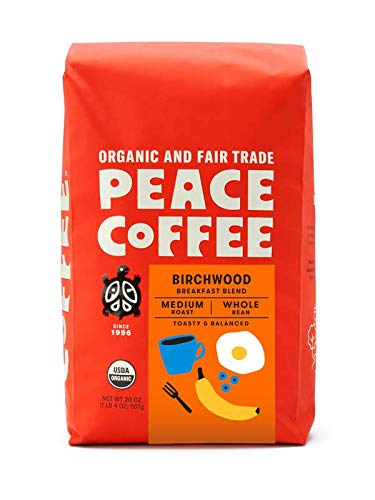 Peace Coffee Birchwood Breakfast Blend, Medium Roast (Sumatra & Peru Origins) Organic Fair Trade Coffee, Whole Bean 20 oz. Bag
